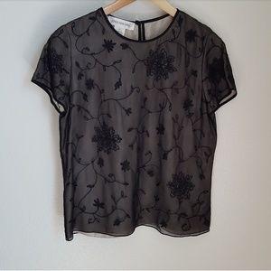 Jones New York • Silk Beaded Overlay Blouse